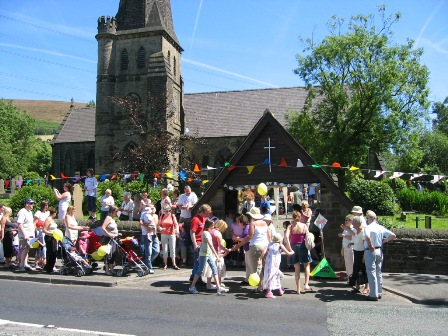 People going to St James Church for a Fete